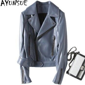 AYUNSUE 2018 Осень 100% натуральная кожа куртка Для женщин короткие леди Кожаные куртки мотоцикл овчины пальто Верхняя одежда YQ1908