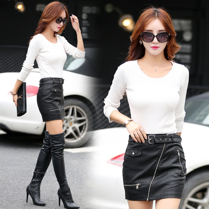 2017 Spring Women 39 s Leather Skirt Fashion Zipper Pockets A line Empire Pu Package Hip Motorcycle Leather Short Skirts Womens in Skirts from Women 39 s Clothing