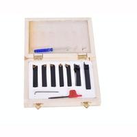 1PC 8mm/10mm 7pcs/set indexable lathe cutting tools set with inserts for CNC machine, Tincoated, lathe turning tools set