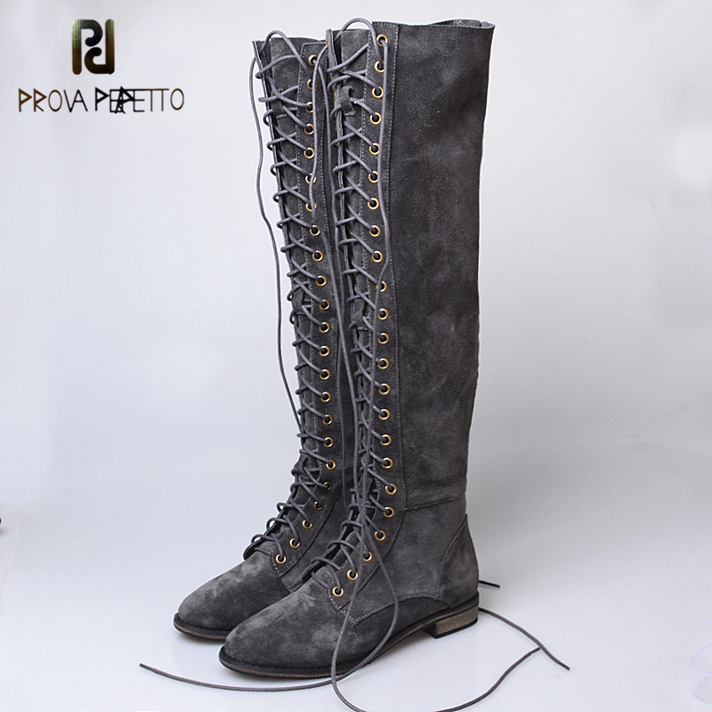 Prova Perfetto Sexy Slim Over-the Knee Long Boots Cross Tied Lace Up Thigh Women Botas Genuine Cow Suede Leather Knight Boots