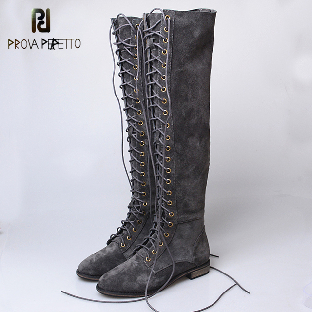 31e921eb929f1 Prova Perfetto Sexy Slim Over-the Knee Long Boots Cross Tied Lace Up Thigh  Women Botas Genuine Cow Suede Leather Knight Boots