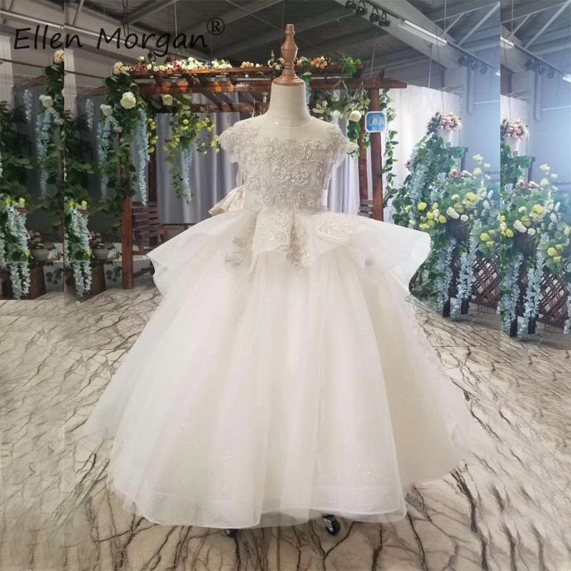 Ivory Flower Girls Pageant Dresses For Wedding Party Little Kids First Communion Ball Gowns For Girls O Neck Tulle Floor Length