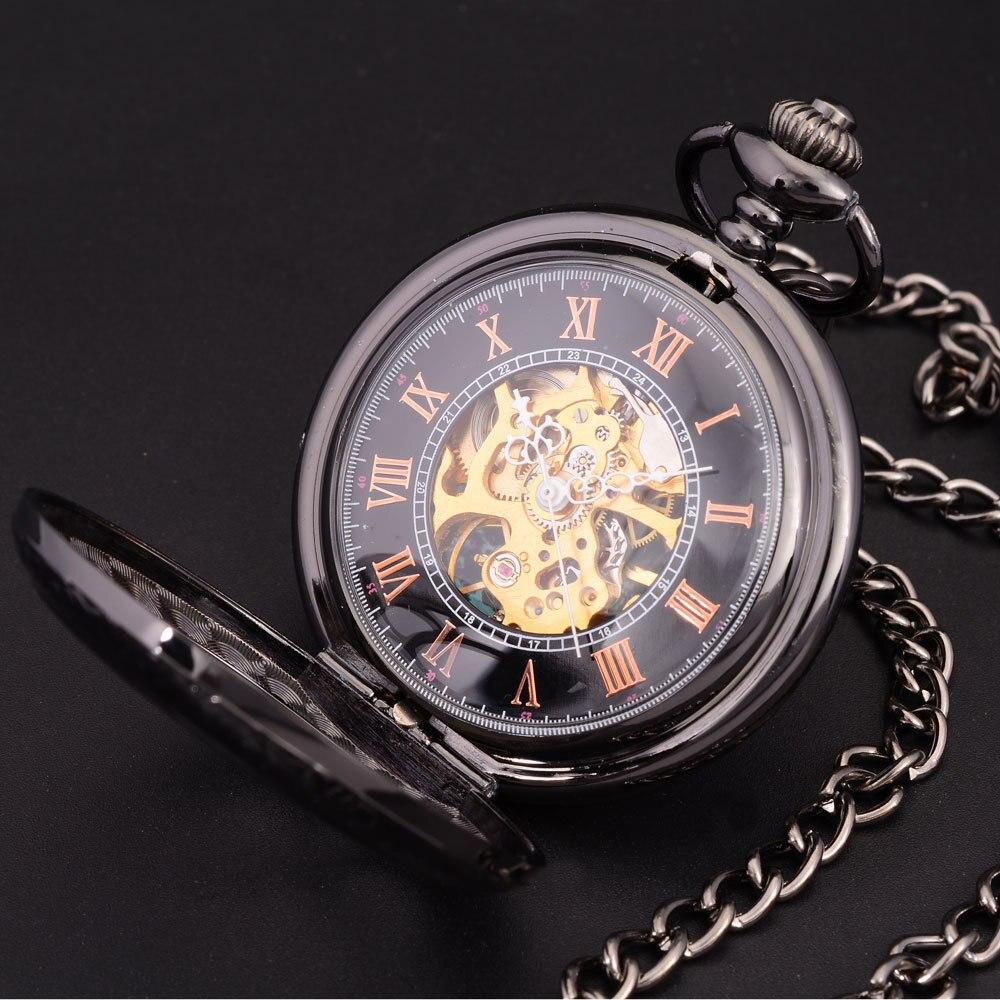 Steampunk Skeleton Dial Black Case Male Relogio De Bolso Retro Roman Numerals Chain Clock Men Mechanical