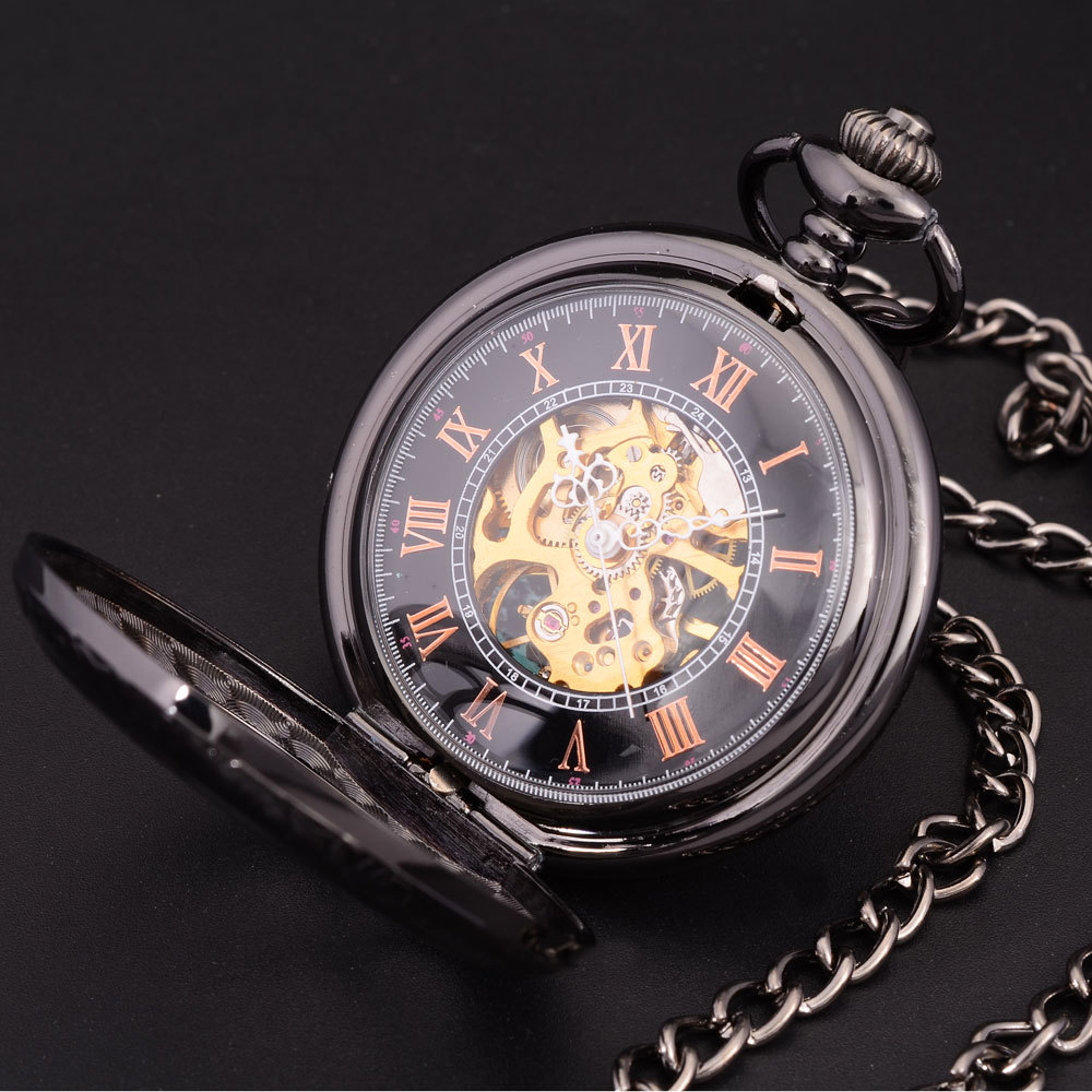 Steampunk Skeleton Dial Black Case Male Relogio De Bolso Retro Roman Numerals Chain Clock Men Mechanical Hand Wind Pocket Watch luxury antique skeleton cooper mechanical automatic pocket watch men women chic gift with chain relogio de bolso