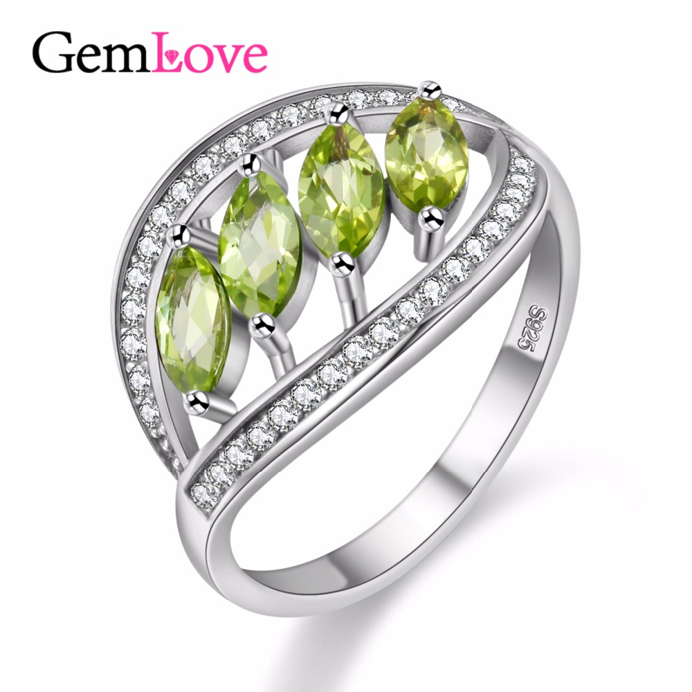 gemlove peridot finger ring gemstone 925 sterling silver wedding rings for women girls gifts bague with