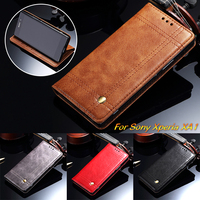 Vintage Leather Case For Sony Xperia L1 XA1 XZ1 Compact Luxury Fashion Flip Stand Wallet Cover