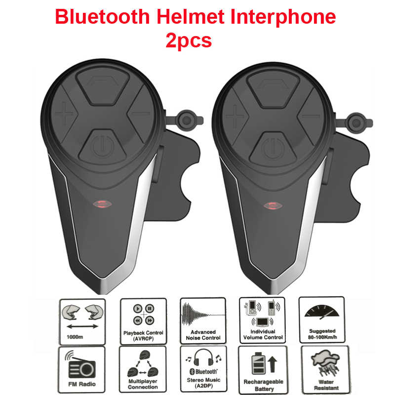 1000M BT-S3 Helm Intercom Headset Motor Bluetooth Interfon Handsfree Fm Radio Tahan Air Bt Intercom 5 Bahasa Manual