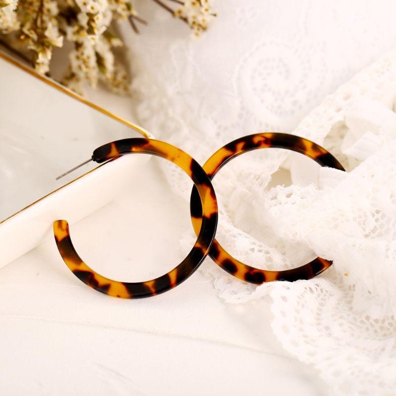 JAVRICK Acrylic Marbled Women Earring Leopard Round Hoop Earrings Women Tortoise Shell Jewelry in Hoop Earrings from Jewelry Accessories