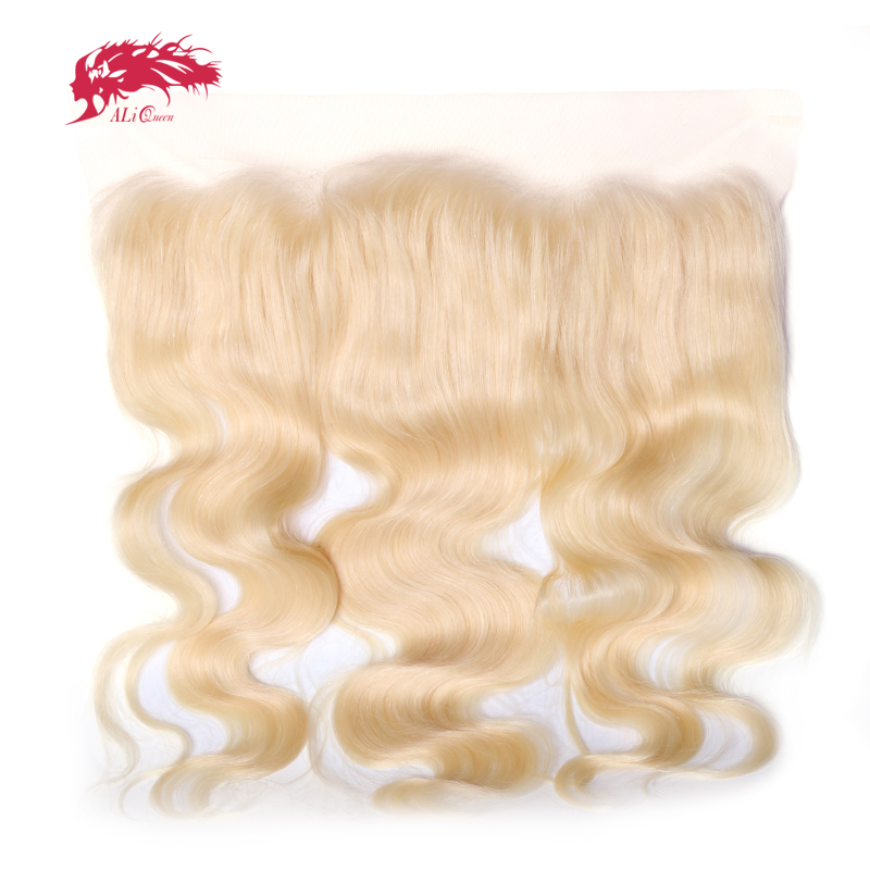 Ali Queen Hair Products Body Wave Virgin Hair Lace Frontal 613 Color 14 to 18 13x4 Swiss Lace Brazilian Human Hair Closure