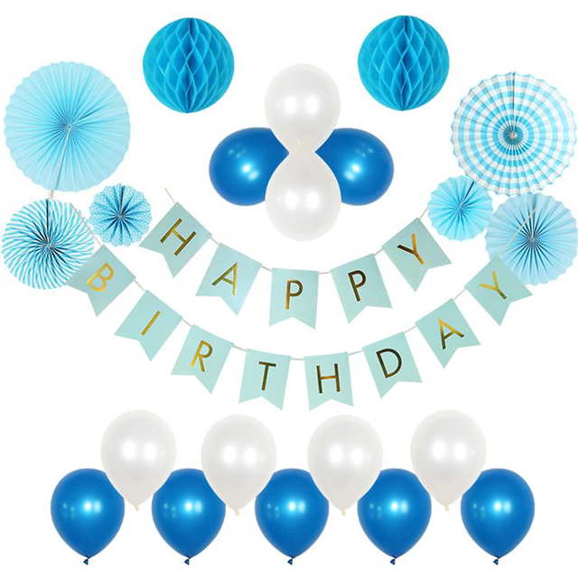 HAOCHU 22pcs Set Blue Series Baby Boy Girl 1st Birthday Party Decoration Pearl Latex Balloon