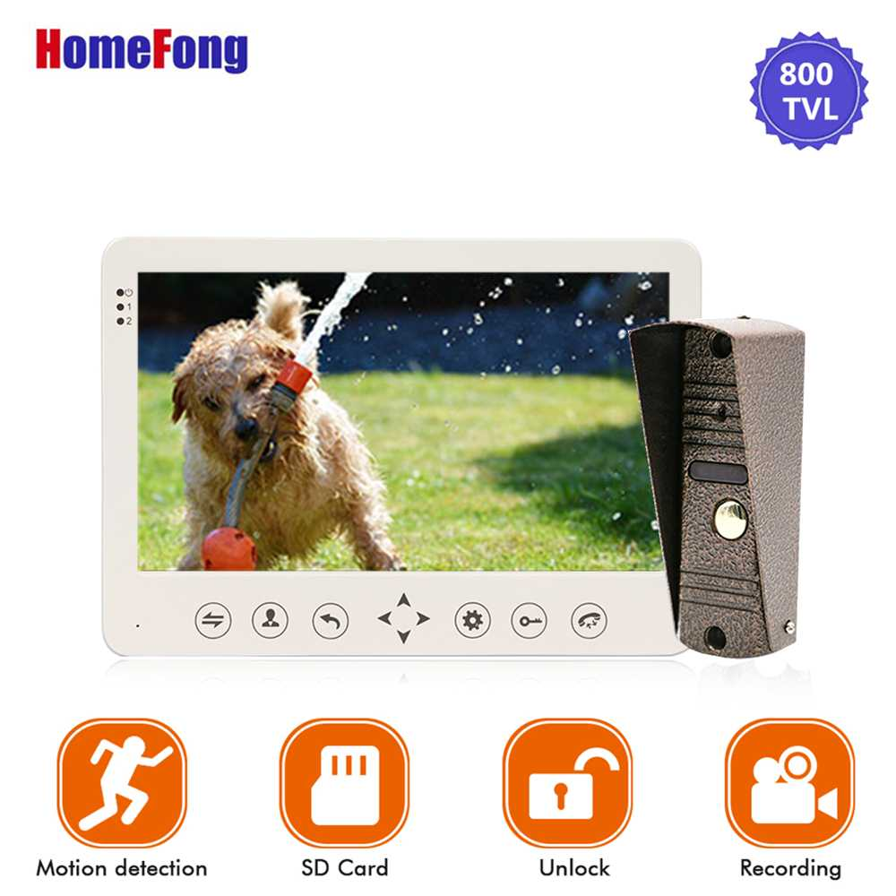 Image 4 - Homefong 7 Inch Video Door Phone 1 Camera  Wired Doorbell Recording Unlock Motion Sensor Black/White SD Card Touch Button-in Video Intercom from Security & Protection