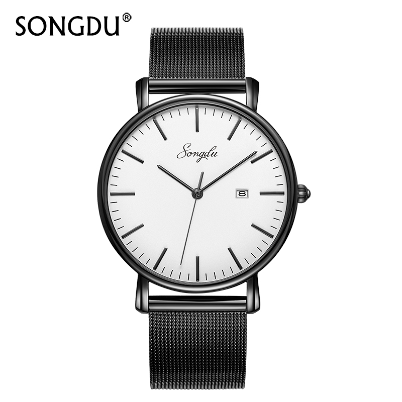 SONGDU Top Brand Men Quartz Watch Relogio Masculino Wristwatches Male Super Large Face Clock Reloj Hombre Hour Gift Box New Hot big face original oulm 9316b brand japan movt quartz dz watch large men dual time male imported reloj hombre relogio masculino