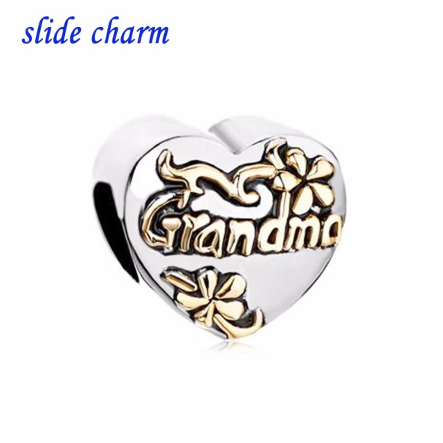 Slide Charm Free Shipping Mother S Day Heart Grandma Exquisite Beads Fit Pandora Bracelet