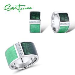 SANTUZZA 925 Zilveren Sieraden Set voor Vrouwen Groene Geometrische Vierkante Set Oorbellen Ring Set бижутерия Fijne Sieraden Handgemaakte Emaille