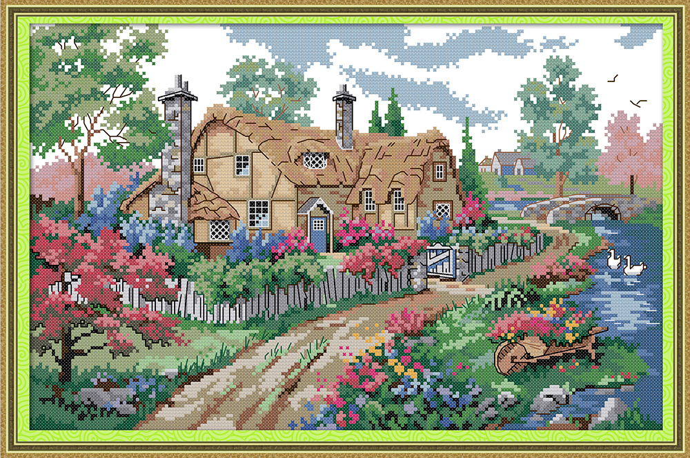 3 2 1 14ct 11ct Counted And Stamped Home Decoration Guest-greeting Chinese Cross Stitch Needlework Precise Joy Sunday F039