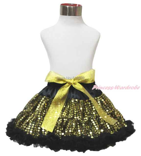 Easter Gold Yellow Sparkle Bling Sequins Big Bow Black Chiffon Baby Girl Dance Pettiskirt Tutu 1-8Year MADRE0033
