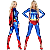 New High Quality Halloween Costume Superman Imitation Leather Siamese Captain American Female Costume Cosplay Stage Party