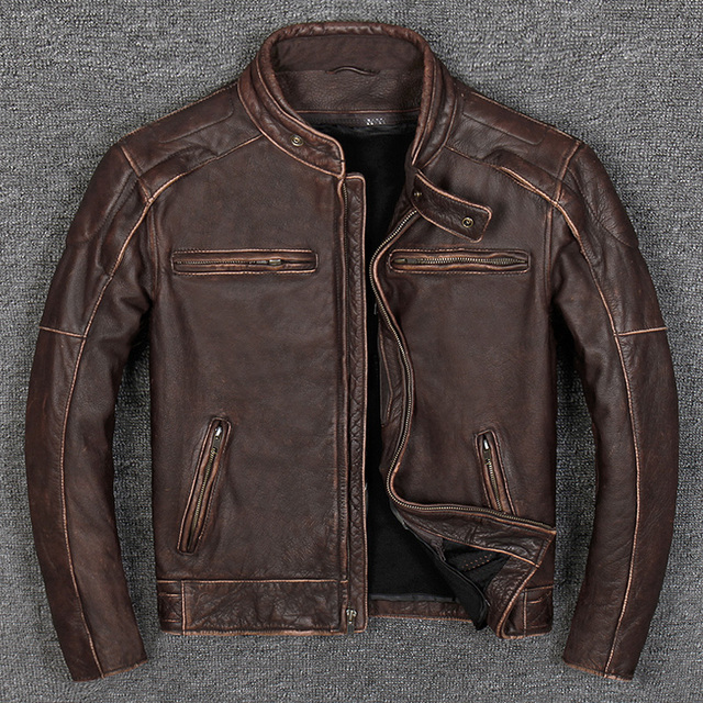 89607abc9 US $219.99 45% OFF|2019 Vintage Brown Biker's Leather Jacket Men Plus Size  3XL Genuine Thick Cowhide Slim Fit Motorcycle Leather Coat FREE SHIPPING-in  ...