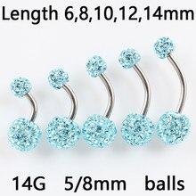 Anel para barriga, joias de piercing corporal femininas, anel de barriga e strass, barra de umbigo 14g em aço inoxidável