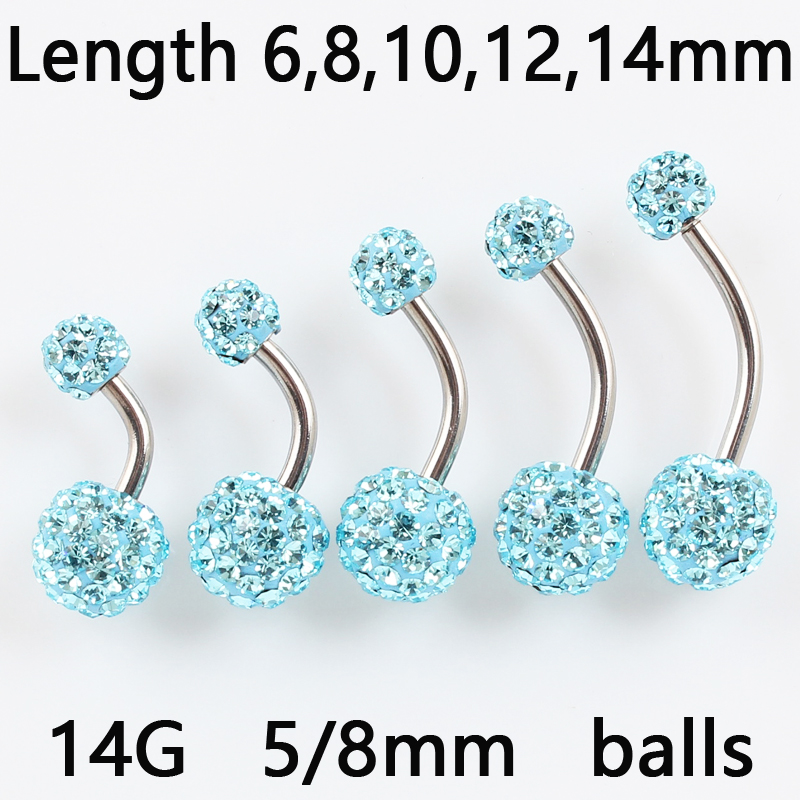 AB Aqua 5mm End Balls 25mm BodySparkle Body Jewelry Double Jeweled Industrial Barbell Piercing Earring 14g 1 inch