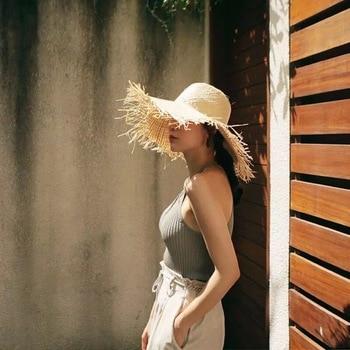 NEW Handmade Women Straw Sun Hats Large Wide Brim Gilrs High Quality Natural Raffia Panama Beach Straw Sun Caps For Holiday 6