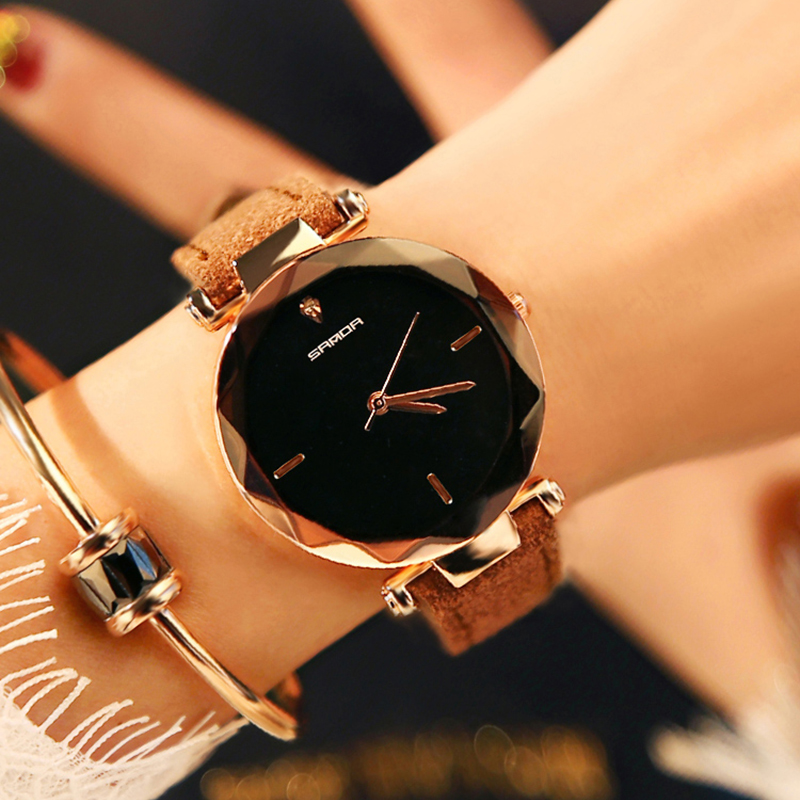 цены SANDA Fashion Simple Stly Women Watches Luxury Golden Genuine Leather Ladies Watch Women Gold Dress Clock relogio feminino P218