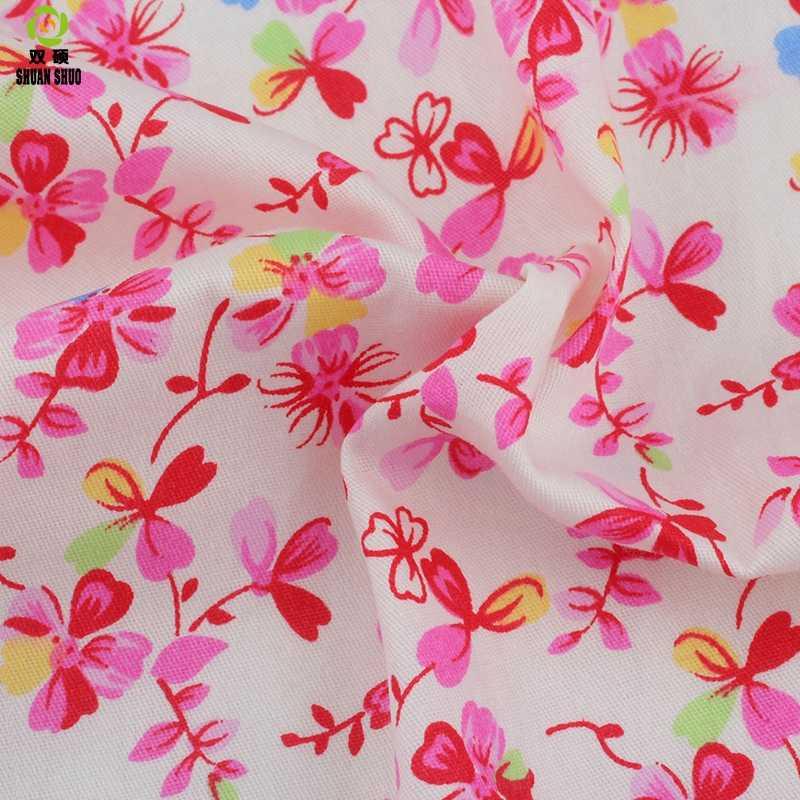 Shuanshuo цветок серии твиловая, хлопковая ткань Лоскутная Ткань ручной работы DIY лоскутное шитье текстильного материала на половину метра
