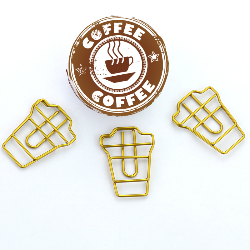TUTU 4PCS/LOT Coffee Cup Shape Paper Clips Gold Color Funny Kawaii Bookmark Office School Stationery Marking Clips H0120