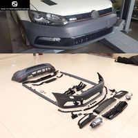 Polo GTI estilo PP sin pintar gris Primer Auto parachoques delantero trasero parachoques faldas laterales para el cuerpo del coche de Volkswagen Polo kit 2011-2015