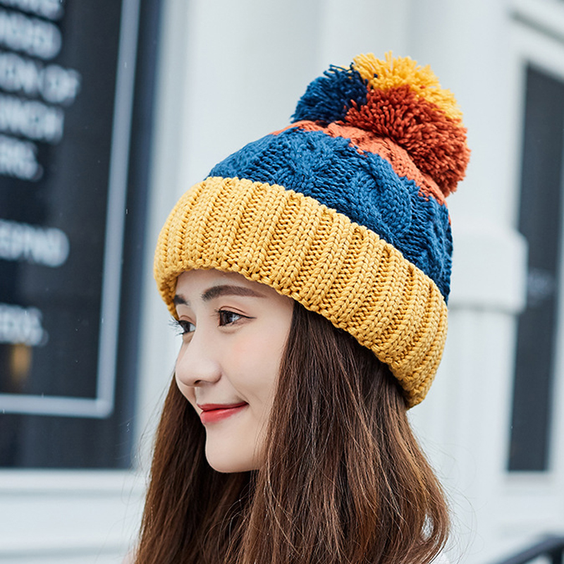 2018 New Winter Female Ball Cap Pom Poms Winter Hat For Women Girl 'S Hat Knitted   Beanies   Cap Hat Thick Women'S   Skullies     Beanies