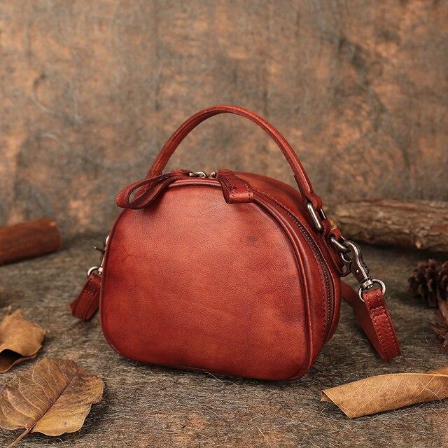 Latest 2019 Women's Handbags Retro Genuine Leather Saddle Top-handle Bags Handmade Shoulder Messenger Lady Bags Small
