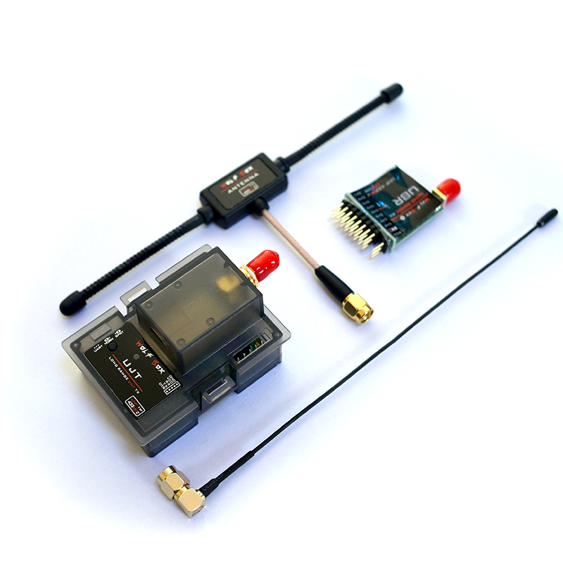 Long Range UHF Wolfbox 1000mW 1W 433MHz UHF Transmitter Tx & 100mW Receiver Rx Compatible with X9D X12S 9XR TH9X 50km long range mfdlink rlink 433mhz 16ch 1w fpv uhf system transmitter w 8 channel receiver tx rx set