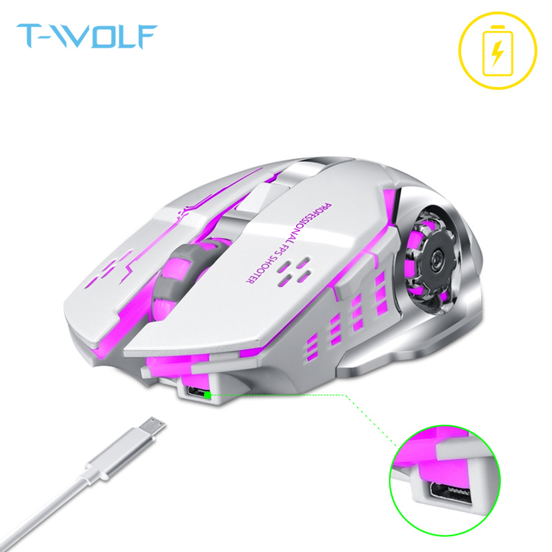 T-WOLF Q13 recargable ratón inalámbrico silencioso ergonómico de ratones 6 llaves retroiluminación RGB 2400 DPI para ordenador portátil Pro Gamer