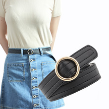 103X2.3Cm New Trend Female Golden Round Buckle Wide Jeans Belts For Women Luxury Woman Leisure Brown Waist Belt Feminine