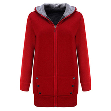 Fleece Thickening Hooded Casual Coat Multi-code Large Size Comfortable Multi-color Female