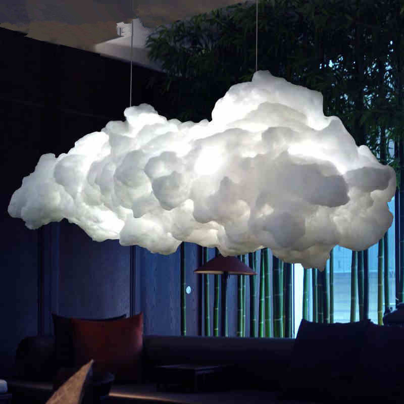 Nordic cloud chandelier creative personality hotel restaurant lighting art living room LED lamps Postage free led fireball chandelier lamp creative personality iron restaurant hotel arcade planet fireworks chandeliers dia 50cm ac220v