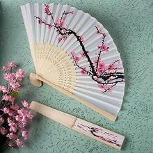 Складывая plum поклонников blossom вентиляторы танцы полиэстер руки летом элегантный дизайнер
