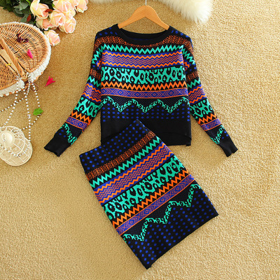 New 2019 Autumn Winter Women Print Sweater Sets Wool Tops And Bodycon Pencil Skirt Set Casual Two Piece Set