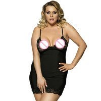 ERANLEE Baby Doll Sexy Lingerie Plus Size 6XL Transparent Lace Sleepwear Porn Dress Hot Erotic Babydoll