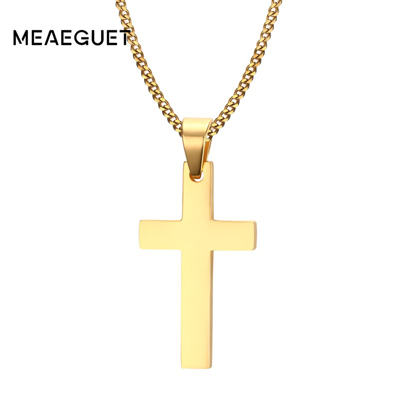 Meaeguet Cross Necklaces Pendants For Men Stainless Steel K Gold Plated Male
