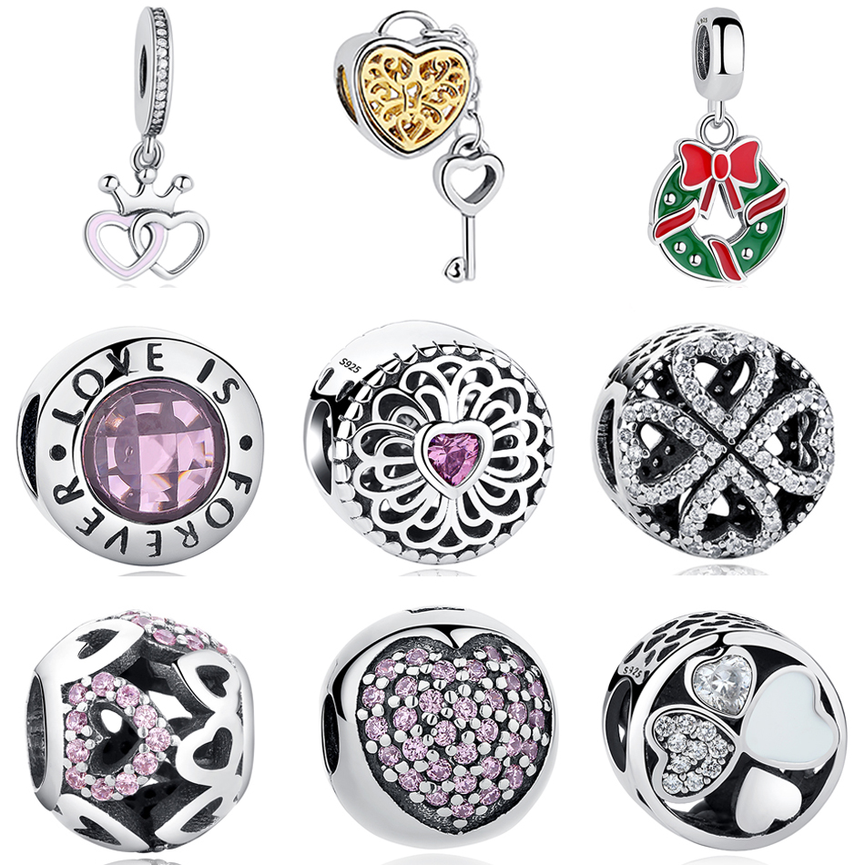 2017 Autumn New Arrive Authentic 925 Sterling Silver Charms Fit Original Pandora Charms Bracelet Heart In Round Wholesale Price