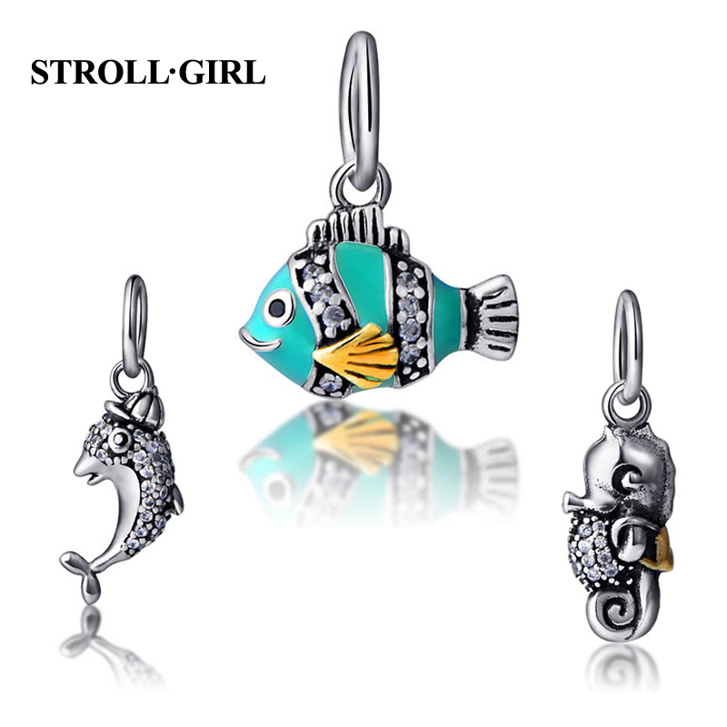 Fit Authentic pandora Charms Bracelet Silver 925 Original Animal fish Charm Beads Color CZ Enamel Jewelry For Mothers Gifts