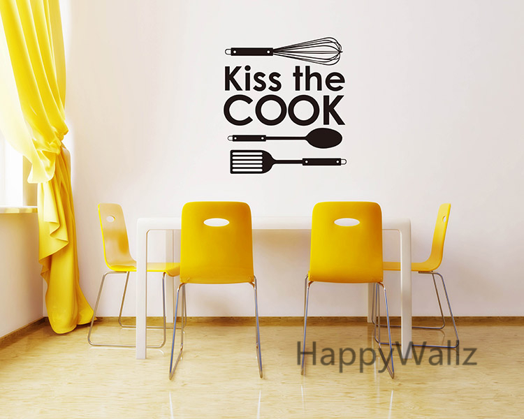 Kiss The Cook Kitchen Quote Wall Sticker DIY Family Home Kitchen ...