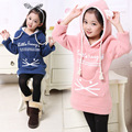 2016 Hot Long Hooded Thick Velvet Baby Girls Sweatshirt Children's Clothing Girls Fall/Winter Hoodies Kids Clothes Tops Tees