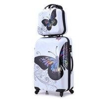24 + 12 удивительные Лидер продаж Япония бабочка abs тележка чемодан камера устанавливает/тяга багажник/путешественников случае коробка с