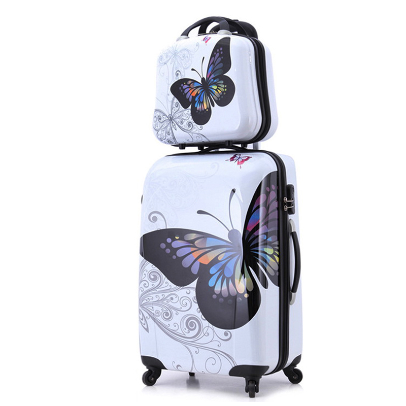 24+12 amazing hot sales Japan butterfly ABS trolley suitcase luggage sets/Pull Rod trunk/traveller case box with spinner wheel 20 24 inches fashion classic day and night trolley suitcase luggage pull rod trunk traveller case box with spinner wheels