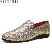 MIUBU Luxury Brand Bling Paillette Men Loafers Charming Elegant Party Dress Shoes Gold Silver Black Big Size 38-48
