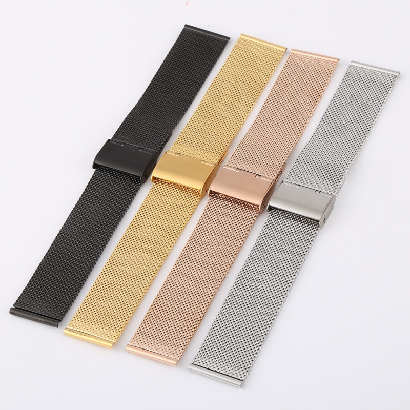 /est / 12-22mm Milanese Watchband Universal Stainless Steel Metal Watch Band Strap Bracelet Silver Black Rose Gold