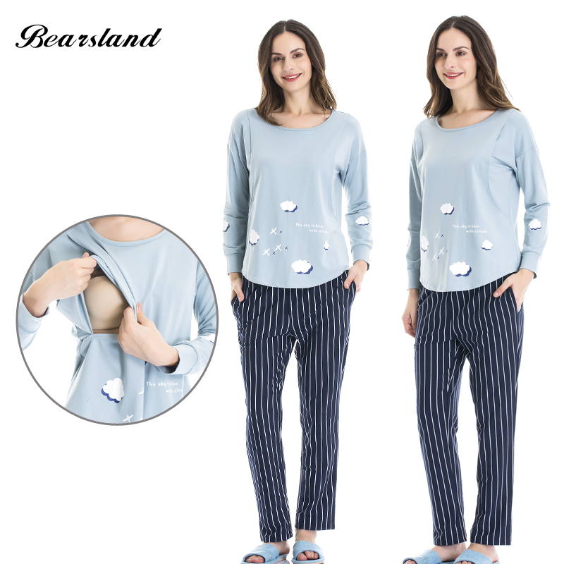 Bearsland Womens Maternity Nursing Pajamas Set 2 Pcs Breastfeeding Top and Pant