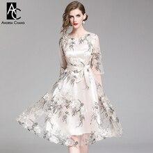 S-XXL весеннее летнее Женское Платье бежевое платье с цветочной вышивкой с поясом 3/4 рукав длиной выше колена элегантное бежевое платье